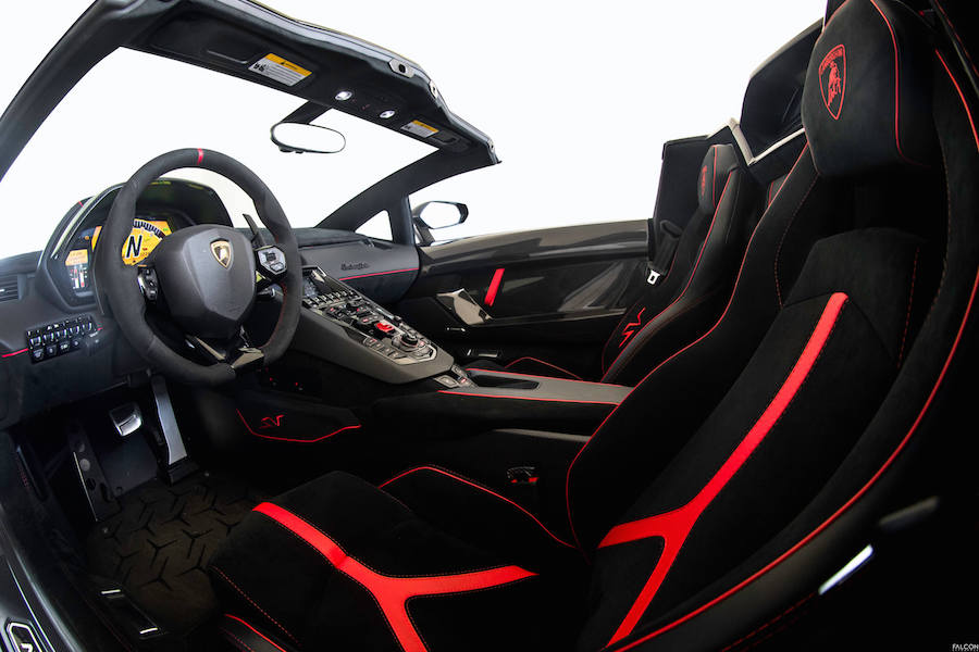 Interior of Lamborghini Aventador SV Roadster